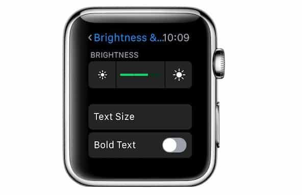 adjust Apple Watch brightness level