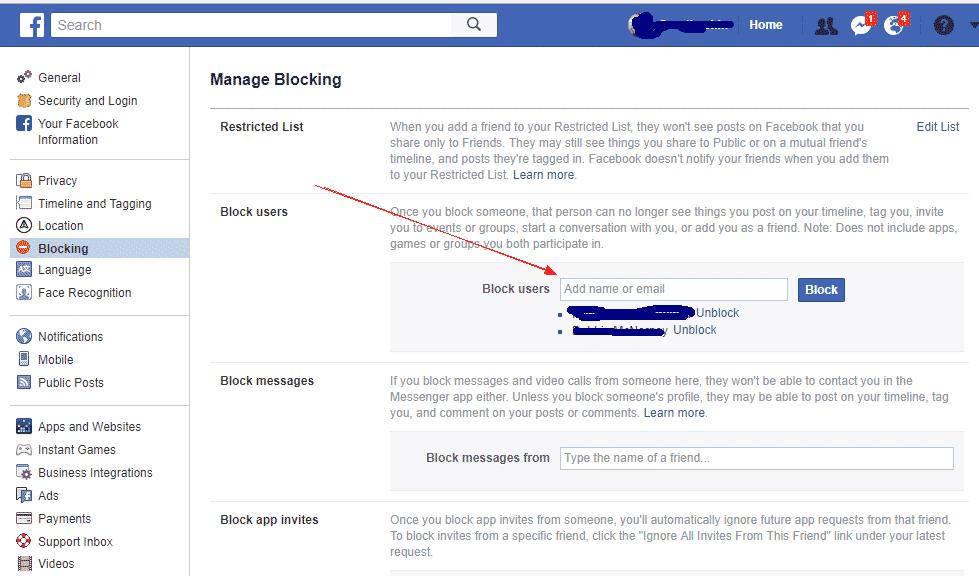 Block People On Facebook