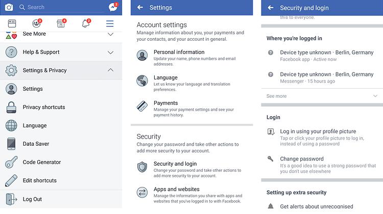 Log out of facebook Messenger