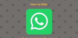 hide whatsapp status updates