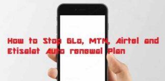 stop MTN, GLO, AIRTEL, ETISALAT Auto Renewal image